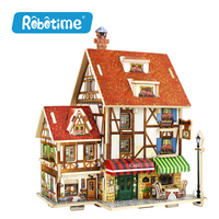 Robotime Wooden Woodcraft Construction Kit Assemble DIY Christmas Birthday Gift Home Decor French Style House