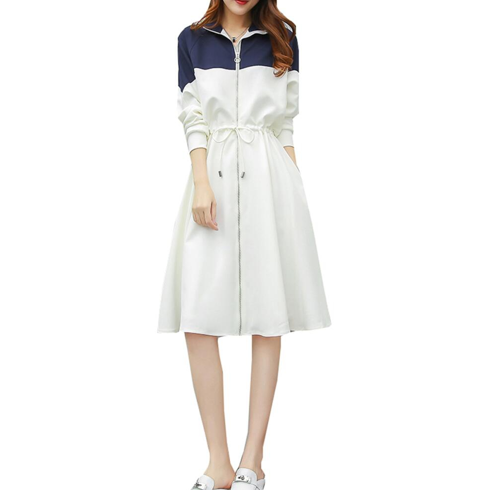 Women's New Simple Casual Color Block A Line Dress Turn Down Collar Drawstring Zipper White Patchwork Midi Long Sleeve Dress