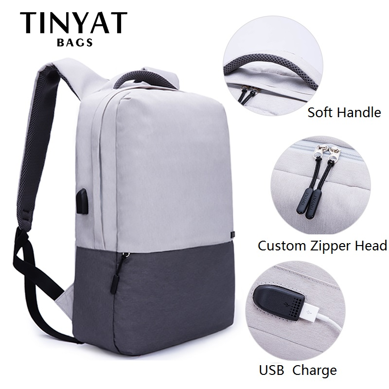 TINYAT Men Laptop Backpack For 15.6 inch USB Charging Backpacks Computer Anti-theft Bags School Backpack Bag Travel Mochila T810