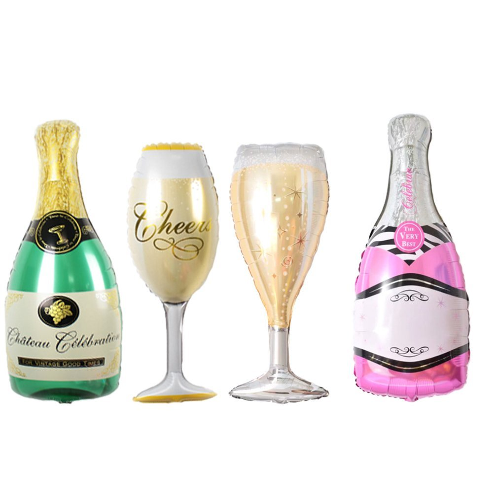 Kuchang 2pcs Large Foil  Champagne Balloons Wedding Anniversary Wine Bottle and Cup Balloon Valentines Day Birthday Paty Decor