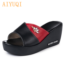 AIYUQI 2019 summer shoes and slippers for women high platform Outdoor genuine leather flip flop womens with wedge