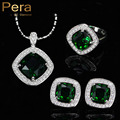New Fashion 3 Piece Jewelry Set For Women Sterling Silver Big Square Created Emerald Green Crystal Necklace Earring Rings J162
