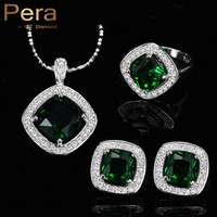 New Fashion 3 Piece Jewelry Set For Women Sterling Silver Big Square Emerald Green Topaz Crystal