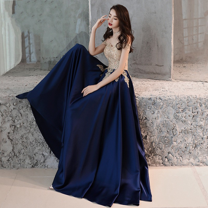 Beauty Emily Evening Dress 2019 Gold Lace Navy Blue Fashion Party Gowns Boat Neck Floor length Long Formal Dresses