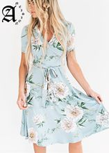 Ameision New Summer Women Dress Floral Print Lace-Up Wrap Ruffles Tunic A Line Chiffon Dresses Casual Vacation Beach