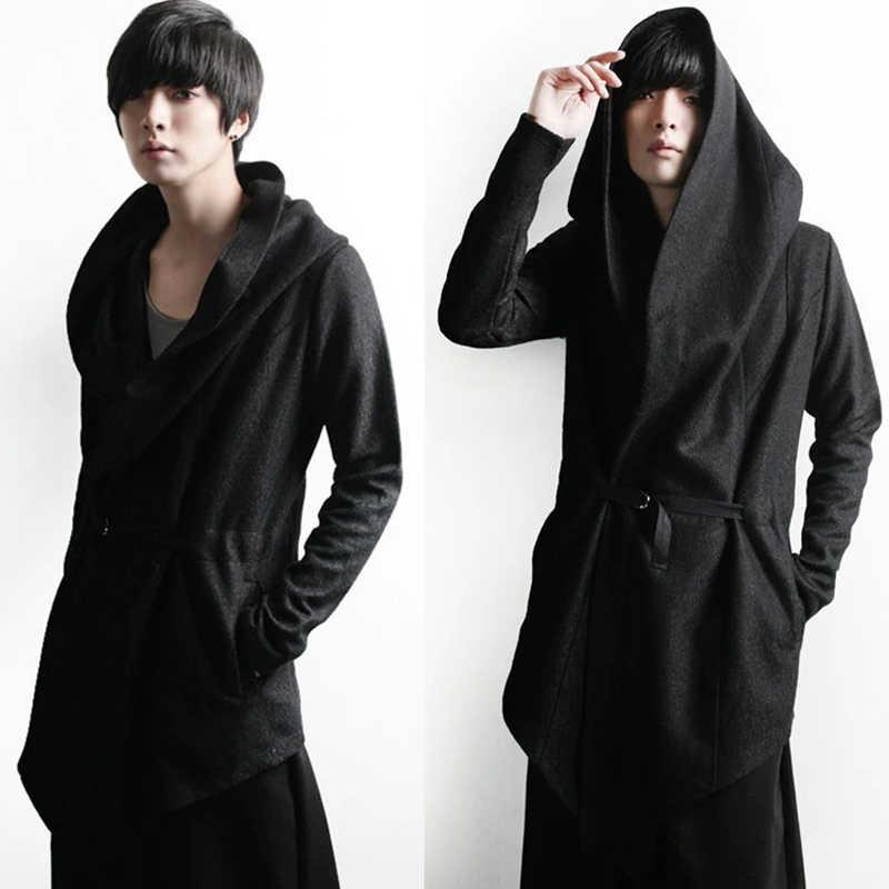 ... Авангард Для мужчин  Модные Топы Куртка Верхняя одежда капюшон накидка  пальто мужской осень-зима ... 91bdac46136