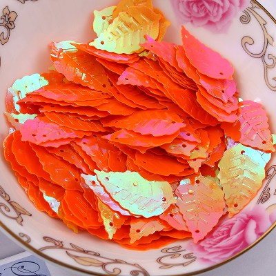 Free shipping 300pcs lot 13 22mm Leaf with 2 holes sequins Orange colors Jewelry Accessories cloth crafts confetti clothing in Sequins from Home Garden