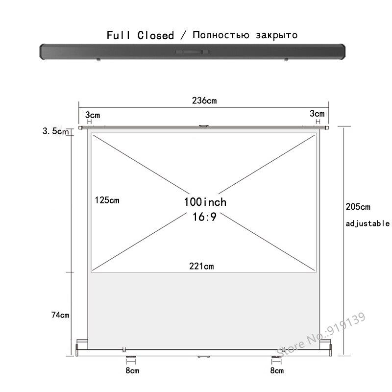 HD портативный пол поднимающийся экран 100 дюймов HDTV 16:9 ткань стекло материал выдвижной проектор экраны для 3D кинотеатра школы офиса - 2