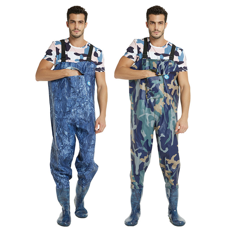 Fishing Waders With Wading Pants Boots Nylon + PVC Adjustable Shoulder Strap Lure Fishing Gear Boot Wader A135