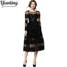 Hot Sale Womens Autumn Lace Dress 2019 Vintage O Neck Slim Sexy Vestidos Party Black Lace Dresses(China)