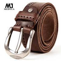 MEDYLA Vintage Original Leather Belt for Men High Quality Natural Leather No interlayer Men's Belt for Jeans Casual Pants