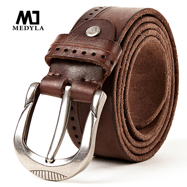 MEDYLA marca diseñador hombres de alta calidad correa de cuero de grano superior  Cinturón marrón vaca 1e83f81b790c