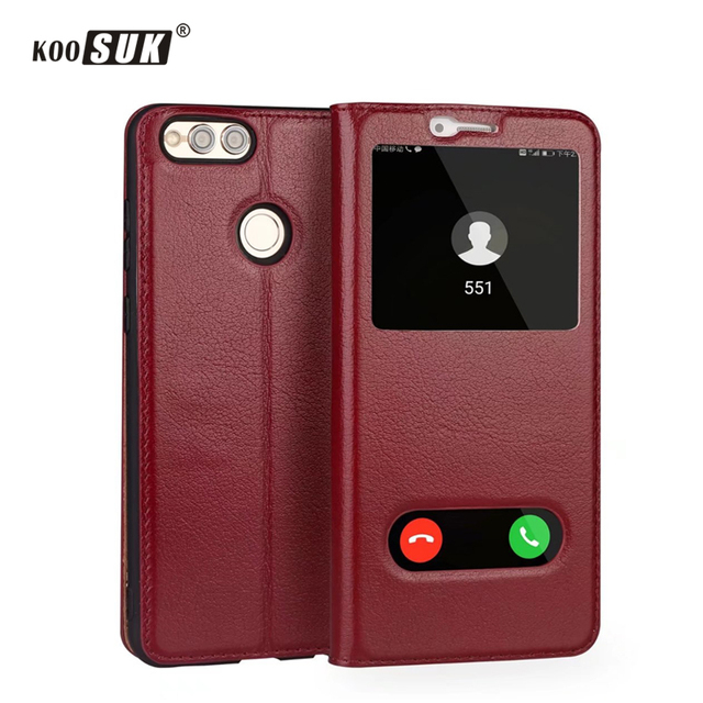 half off eba90 e20b0 US $13.59 20% OFF|Huawei honor 7X smart window flip case caller ID Luxury  business genuine leather phone case for huawei honor7x Yak Leather Cover-in  ...
