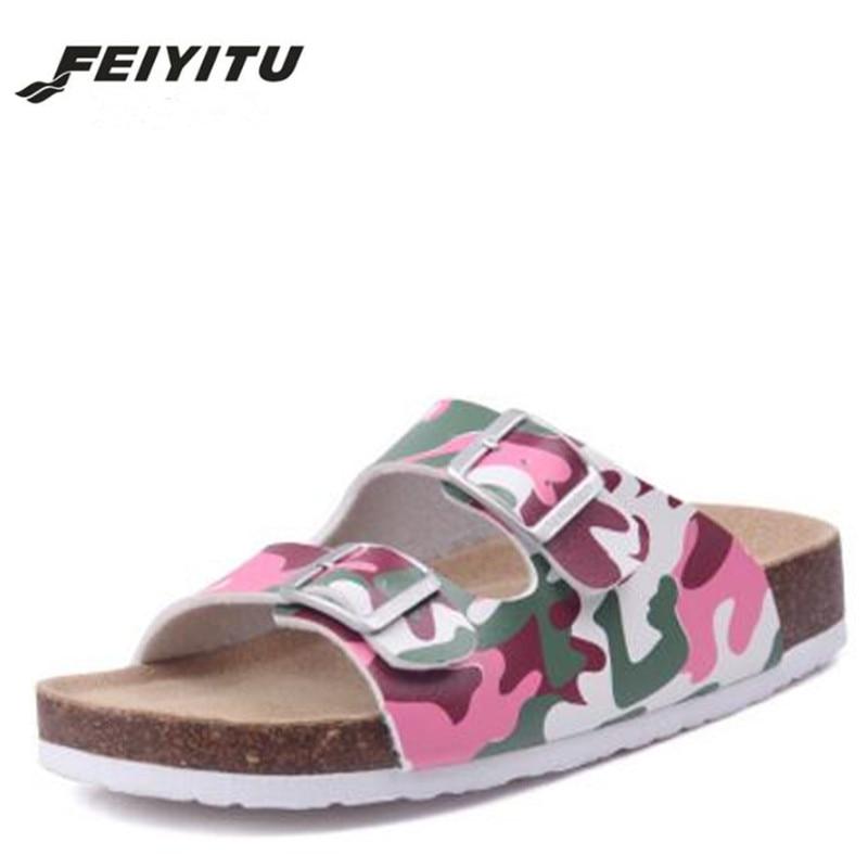 FeiYiTu  New Summer Beach Cork Slippers Sandals Casual Double Buckle Clogs Sandalias Women Slip On Flip Flop Shoe Size 35-45