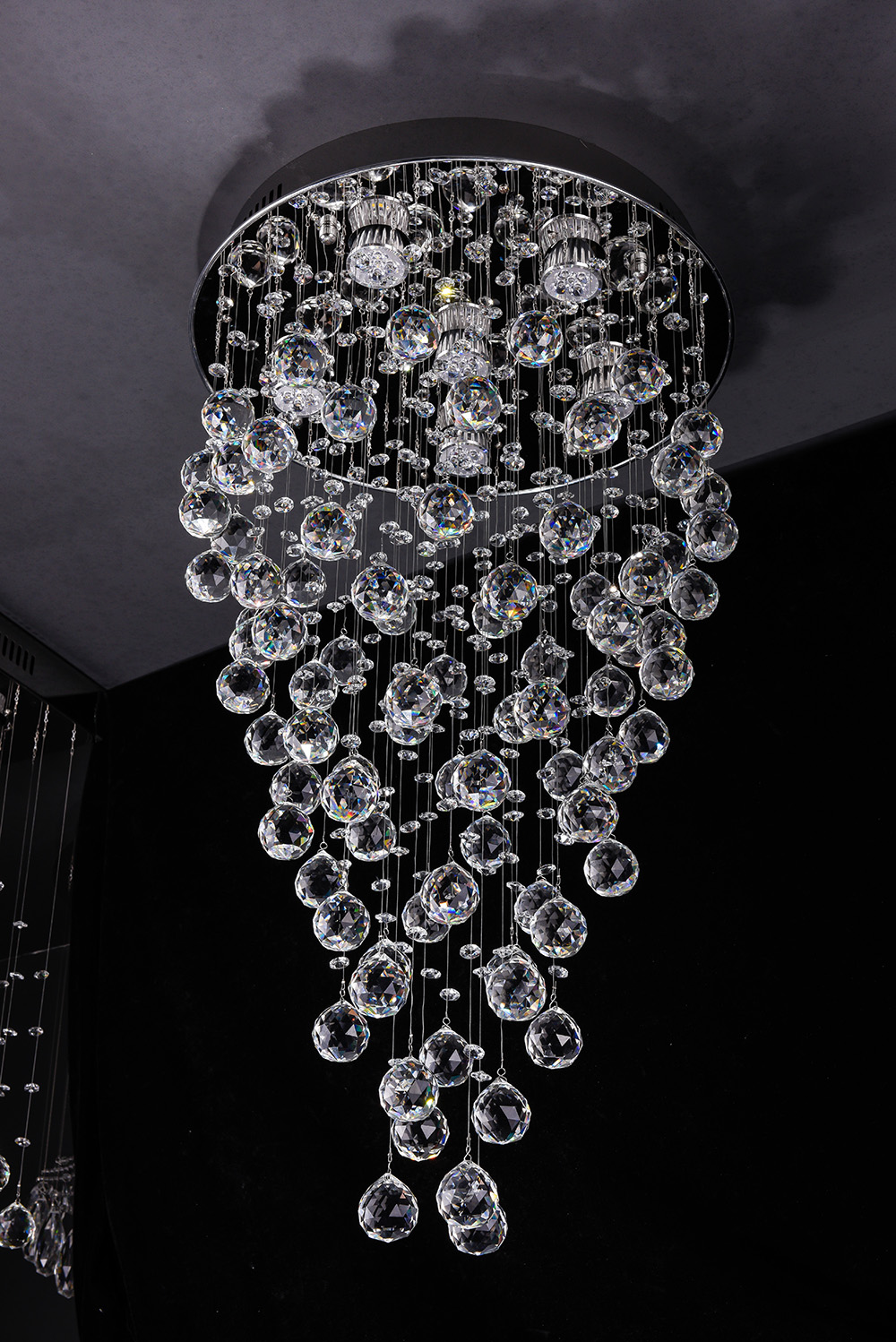 "Modern Contemporary Round Chandelier""Rain Drop"" Chandeliers Lighting with Crystal Balls W 18"" X H 32""