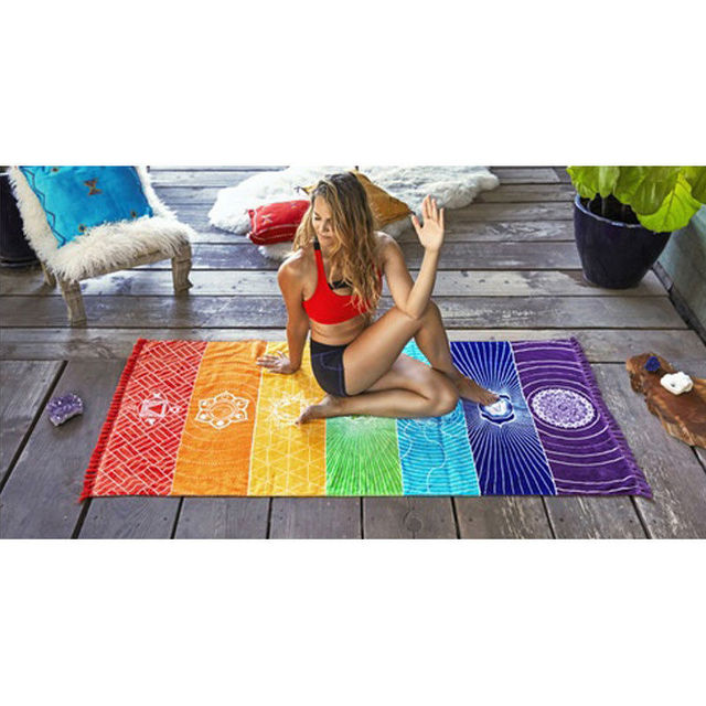 Dropship! Single Rainbow Chakra Tapestry Towel Carpet Mandala Boho Stripes Travel Yoga Mat Outdoor Mats 150x70cm/100x45cm 5