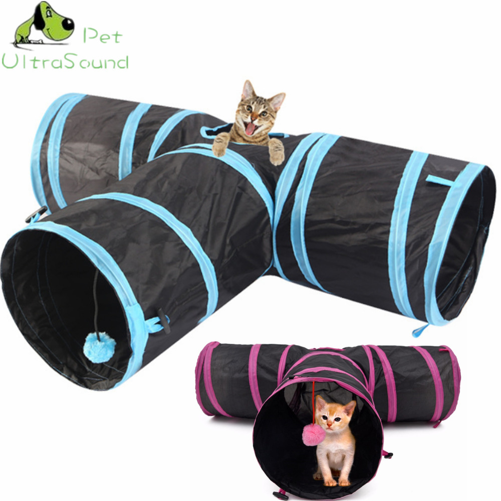 ULTRASOUND PET Cat Tunnel Foldable Y Shape 3 Holes Pet Play Toy For Kitten Puppy Rabbit With Ball 2Colors Pet Toys ...