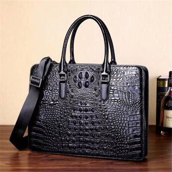 Kaisiludi leather briefcase crocodile-print men's and women's handbag business double-pull computer bag single-shoulder bag