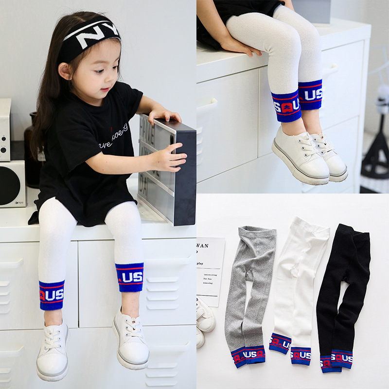 children girl pants wholesale child pantyhose cotton letters USA sports girls leggings tide 6pairs