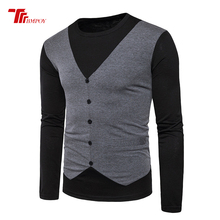 hot deal buy  t shirt  men's stitching design o neck fake 2 piece vest tops & tees t shirt men long sleeve slim male tops