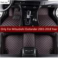 Кожаный коврик для вспышки  автомобильные коврики для Mitsubishi Outlander 2003-2016 2017 2018  автомобильные накладки для ног  автомобильный коврик