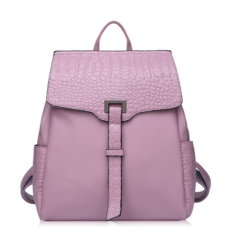 Fashion Backpacks For Girls Split Leather Alligator Woman Backpacks Bags Solid Color Practical Travel Bags Ladies 2016 genuine leather woman backpacks fashion cowhide split leather backpacks for lady solid high quality leather woman bag