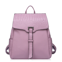 Fashion Backpacks For Girls Split Leather Alligator Woman Backpacks Bags Solid Color Practical Travel Bags Ladies
