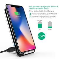 Fast Dual Coil Safe Qi Stand LED Wireless Charging Pad For IPhone 8 8 Plus X