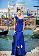 free shipping robe de soiree Elegant Formal sleeveless royal blue long Evening Dress 2015 one shoulder feathers Prom Gowns