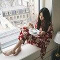 2016 inverno o yeller moda pavão das mulheres kimono robe bath vestido camisola yukata roupão de banho pijamas com cinto