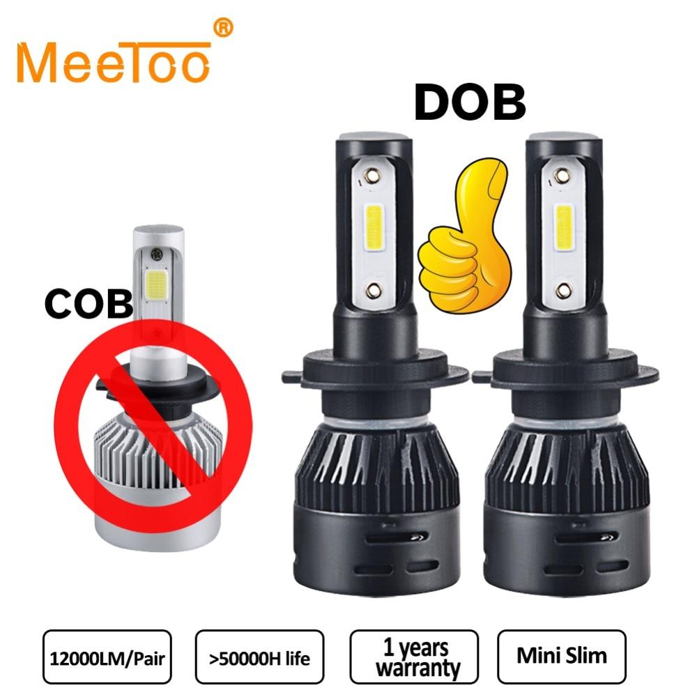 meetoo dob 2pcs h7 led h4 led h11 car light headlight bulb 12000lm