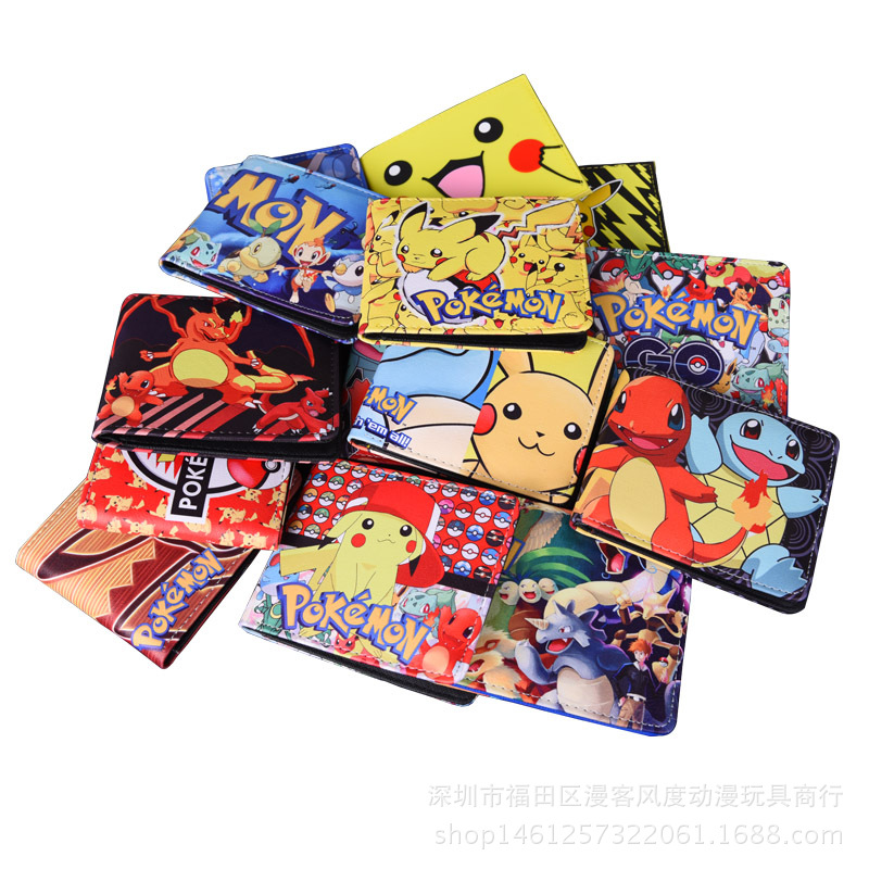 Cartoon Short Wallet Pocket Monster Pokemon Satoshi Pikachu Short Wallets Two Fold Purse children wallet gift anime cartoon pocket monster pokemon wallet pikachu wallet leather student money bag card holder purse