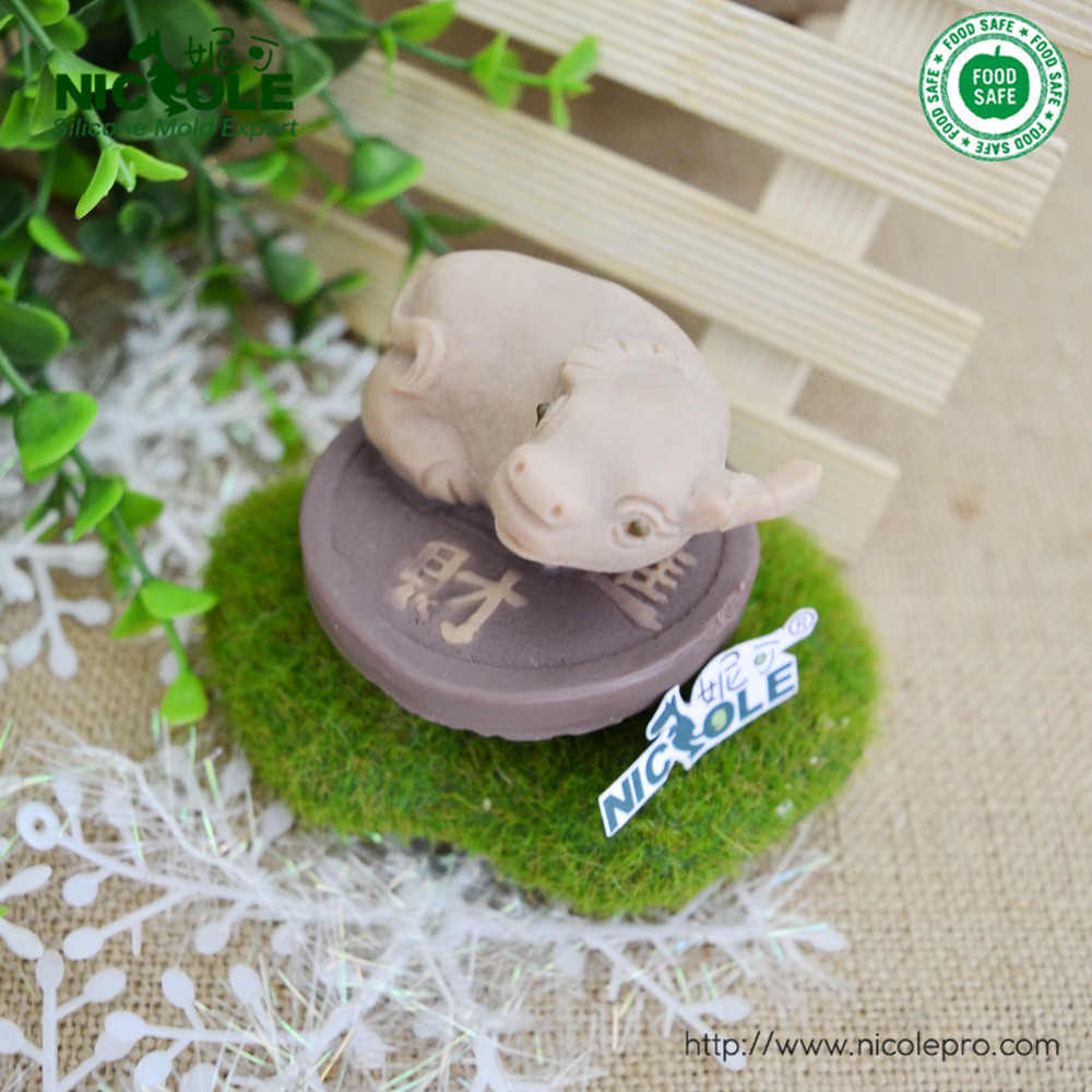 Zodiac cow modelling silicon soap mold Cake birthday decorating Handmade chocolate mould