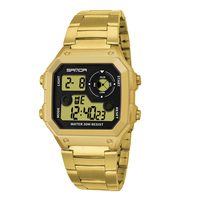 SANDA Top Brand Sports Men's Watches Square Digital Led Clock Men Military Waterproof Stainless Steel Watch reloj hombre 408
