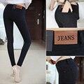 2016 Autumn Winter Middle waist Women Jeans Stretch Skinny Female Pencil Pants Black Color Casual Denim Boyfriend Plus size pant