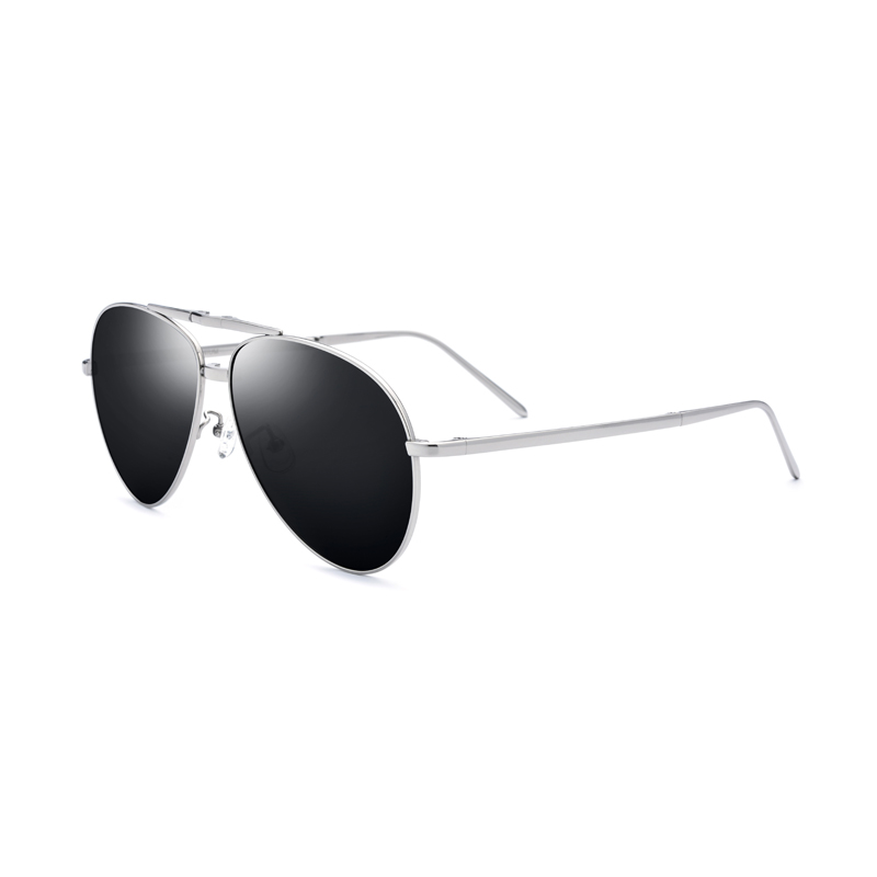 Titanium Men Polarized Sunglasses UV400 Silver Oversized Aviator Glasses For Men Vintage Folding Glasses Size:60 16 140mm