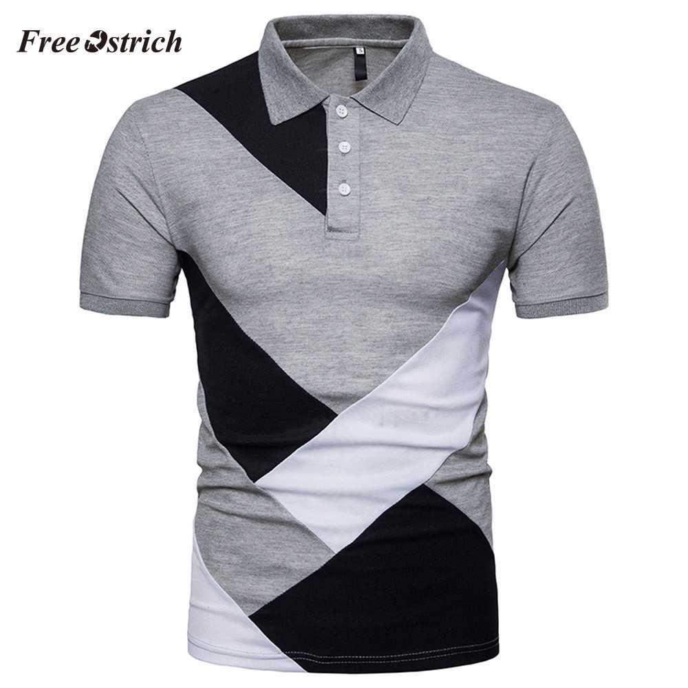 Free Ostrich Men's Slim Contrast Color Polo Shirts Casual Short Sleeve Shirts For Business Men Shirt Men's Polo Shirts Hot Sales