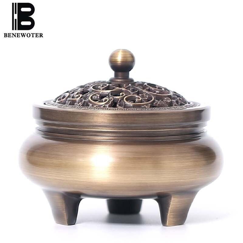 Creative chinois ornements Vintage en laiton brûleur d'encens avec couvercle bouddhiste Temple trépied Sitck bobine cône bois de santal cuivre encensoir