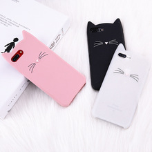 For iPhone 7 7Plus 6 6S 6Plus 5 5S 8 Plus X XR XS Max Case Cute 3D Soft Silicone Cartoon Beard Cat Glitter Phone Cover Capa