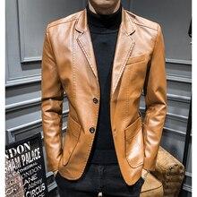 2020 nowa skórzana kurtka Streetwear moda męska kombinezon skórzany kurtka ubrania Casual Slim Fit przycisk żółty niebieski PU Blazer płaszcze