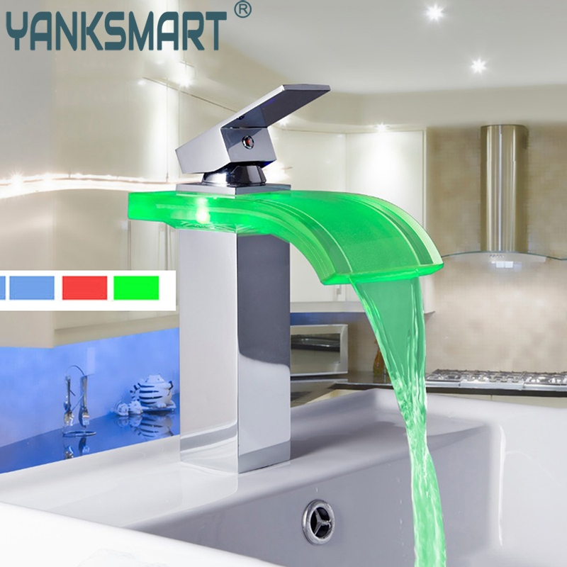 все цены на Bathroom Waterfall Faucet LED Colors Changing Chrome Waterfall Bathroom Basin Sink Mixer Tap Basin Faucet онлайн