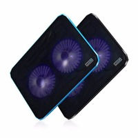 Double Cooling Fan LED Light Laptop Notebook Cooler Radiator Low Noise High Operation With Computer Stand
