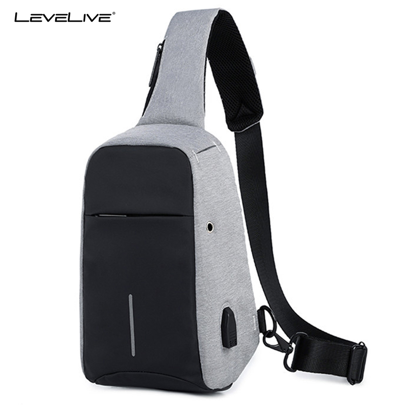 LeveLive New Crossbody Bags Men Women Anti-theft USB Recharging Chest Pack Short Trip Waterproof Messenger Shoulder Bag for Teen