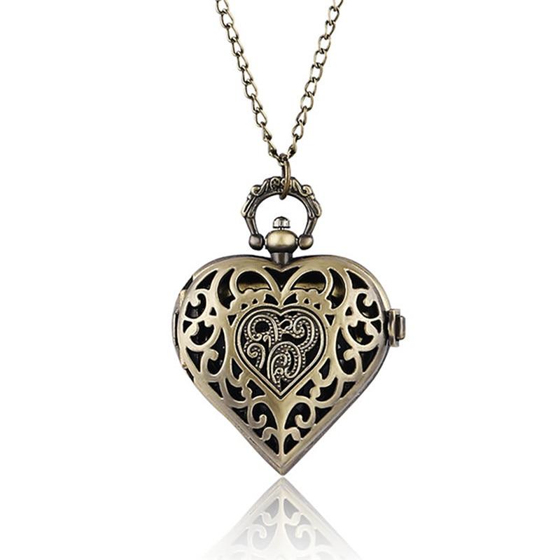 Modern Women Dress Watch Heart Shape LOVE Quartz Pocket Watch Necklace Pendant Chain Gifts For Woman Lady Girl Girlfriend Wife