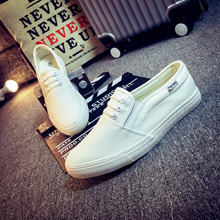 Купить с кэшбэком Fashion Sneakers 2019 Men White Canvas Shoes Spring Autumn Casual Men Shoes Lace-up Breathable Trainers Men Chaussure Homme