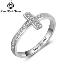 все цены на Personalized Cross Finger Rings for Women Engraved Name Ring 925 Sterling Silver Zirconia Wedding Ring Jewelry  (Lam Hub Fong)
