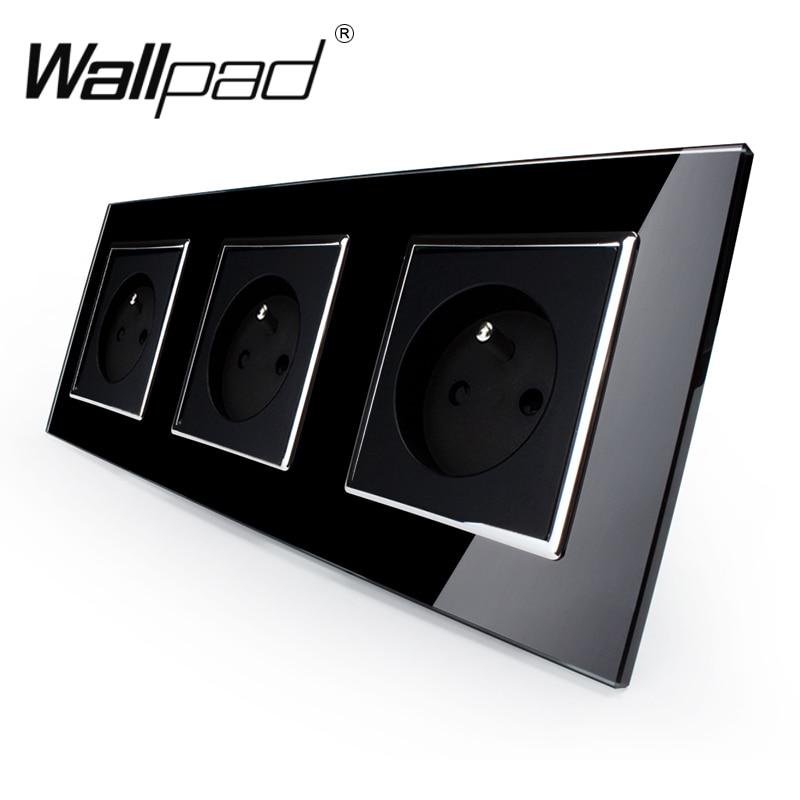 цена на French Socket CE Wallpad Luxury Black Crystal Glass EU Standard Triple Frame 16A Plug EU French Wall Socket with Claws Mounting