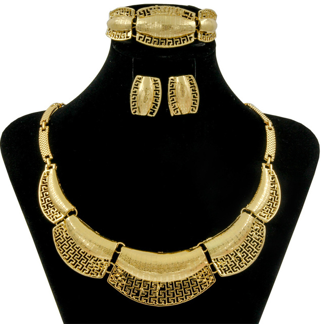 2018 New African Fashion Royal Queen Gold Jewelry Sets Nigerian Big