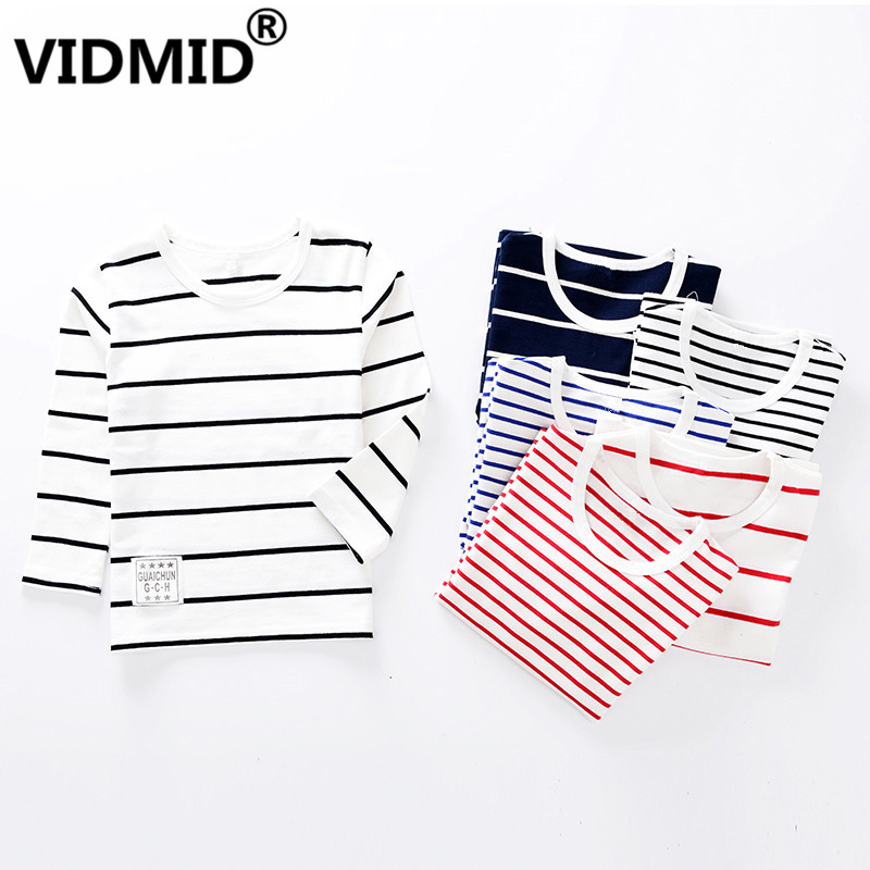 VIDMID Kids clothes Children T-shirts striped Long Sleeve Cotton Tops Tee Baby boys Girls blouse for girls Clothes tees  2001 07(China)