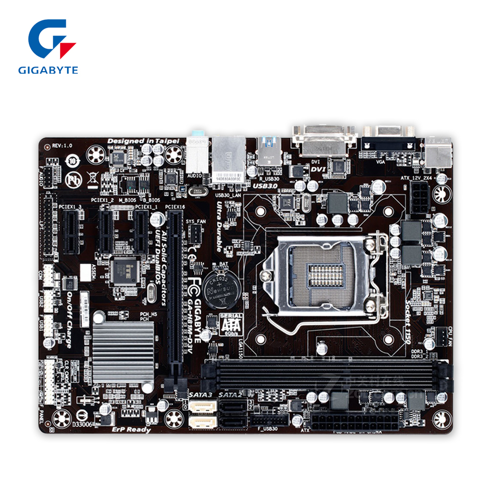 Gigabyte GA-H81M-D3V Original Used Desktop Motherboard H81M-D3V H81 LGA 1150 i3 i5 i7 DDR3 16G SATA3 Micro-ATX new hot fashion unisex women men hipster vintage retro classic half frame glasses clear lens nerd eyewear 4 colors